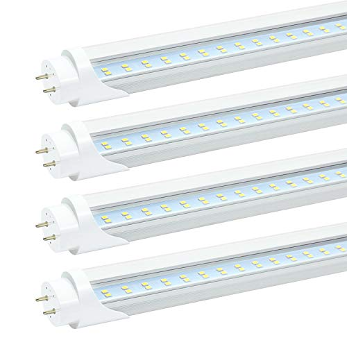 JESLED T8 T10 T12 4FT LED Light Bulbs, 24W 3000LM, 5000K Daylight, 4Foot LED Fluorescent Tube Replacement, Clear, Dual-end Powered, Ballast Bypass, 48 inch LED Garage Warehouse Shop Lights (4-Pack)
