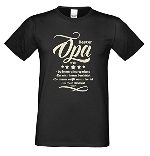 Großvater Fun-T-shirt als Top Geschenk mit GRATIS Urkunde - Bester Opa weil Farbe: schwarz Gr: S
