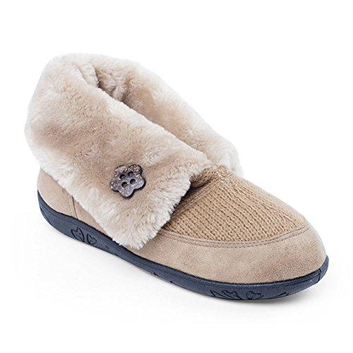 Padders Damen Textile Slipper Eden | Mit Luxus-Pelz Futter | Extra Breit EE Passmaß | 20mm Ferse Kamel