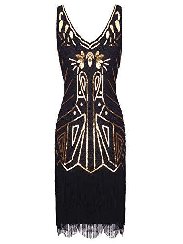 FAIRY COUPLE Women's 1920s Flapper Dress Gatsby Dress V Neck Beaded Fringed Dress D20S027(XL,Black Gold)
