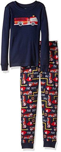 Gymboree Big Boys' Graphic Top, Striped Bottom Tight-Fit Sleep, Firetruck, 7