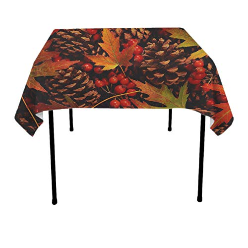 Fall Leaves Squirrel Rectangular/Square Table Cloth Polyester Spillproof