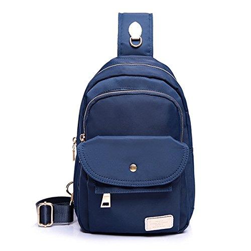 TENGGO Grande Capacité Femmes Nylon Coffre Étanche Sac Extérieur Crossbody Bag-Blanc Bleu Foncé