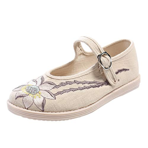 Womens Chinese Classical Sandals,Girls Embroidered Buckle Handmade Flats,Shallow Mouth Open Toe Retro Beijing Cloth Shoes (Beige, US:6) ()