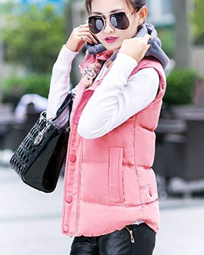 Doudoune Gilet Et Sans En Matelassée Pink Duvet Veste Chaud Manteau Encapuchonné Hiver Femmes Automne Manche CUZwqfxx0