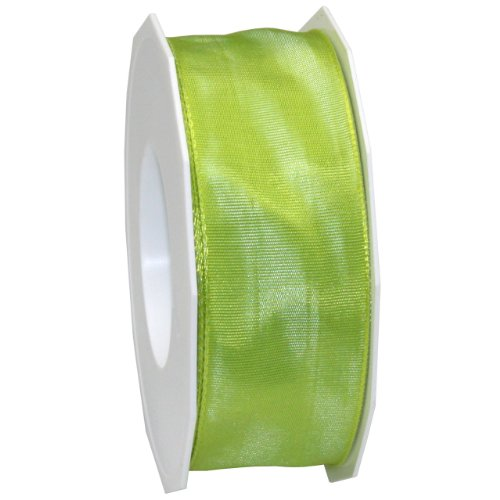 - Morex Ribbon French Wired Lyon Fabric Ribbon, 1-1/2-Inch by 27-Yard, Lime