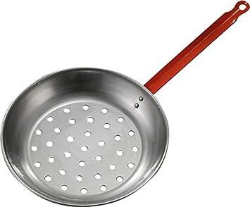 ANGOPE Sartén castañera de Hierro Pulido - cocinar castañas y Frutos Secos en leña y Cocina de Gas: Amazon.es: Hogar