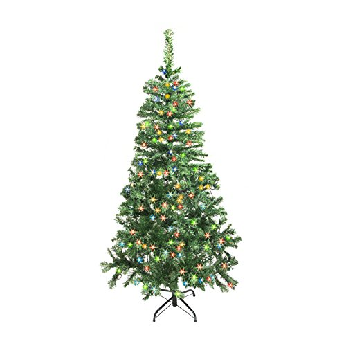 ALEKO CT60H250MC Luscious 5 Feet Lighted Tree with 250LED Multi-Color Lights, Artificial Holiday Pine Tree Indoor Holiday Decor
