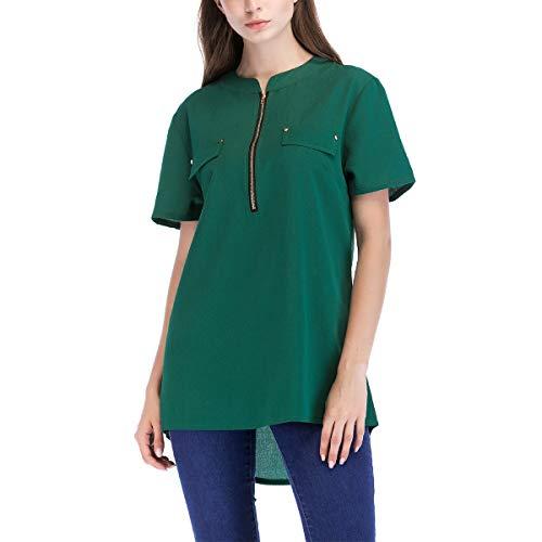 en Manches Blouse Courtes Irrgulire Tunique Femmes Tops Causal Chemises Hem Soie Mousseline Zipper Green de wSaftqX