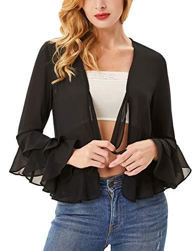 (Womens Long Bell Sleeve Ruffles V Neck Tie Front Loose Mesh Chiffon Cardigan Tops Size XL,Black)