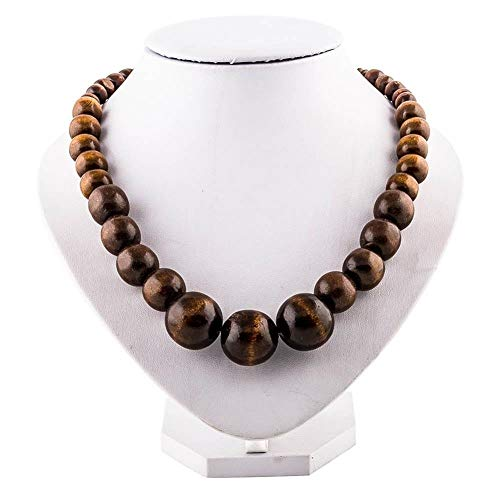 Yafang Wood Bead Necklace Africa Wooden Chain Statement Chunky Necklaces (Africa Imports Reviews)