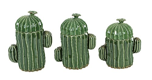 Deco 79 56765 Glazed Ceramic Cactus Jars (Set of 3), Green