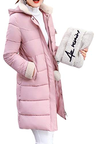 Coat Hooded Winter Long Down Quilted Pink Loose Women EKU Mid Thicken Jacket 1axFvqqT