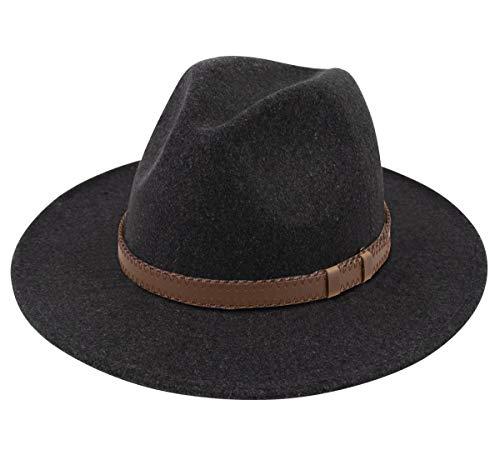 (Lanzom Women Wide Brim Warm Wool Fedora Hat Retro Style Belt Panama Hat (X-Dark Grey, One Size))