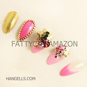 "Fashion Japanese 3D Nail Art ""HOT GOLD PINK"" 10 full-handmade 3D JEWELRY Nails 24 PIECES Sold By FATTYCAT"