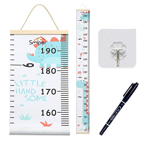 Measurement Chart Cheap - Smlper Growth Chart for Kids,Roll-up Height Chart for Boys Girls,Wood Frame Fabric Canvas Height Measurement Ruler for Kids Nursery Room,Removable Wall Decor 79