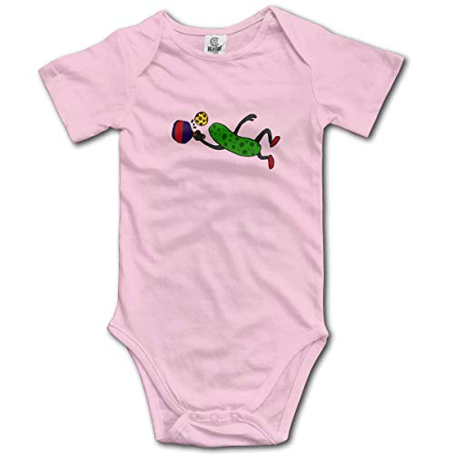 sport outdoor 003 Pickle Playing Pickleball Infant Short-Sleeve Onesies Baby Boys Girls Pink