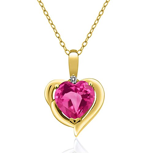 1.82 Ct Pink Created Sapphire White Diamond 18K Yellow Gold Plated Silver Pendant