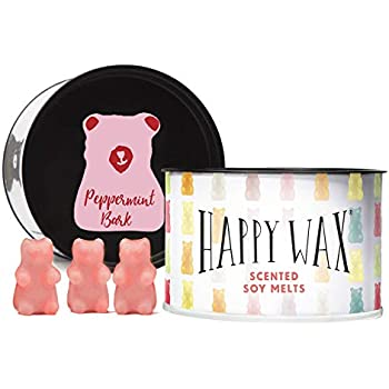 Happy Wax Peppermint Bark Soy Wax Melts - Scented Wax Melts Infused with Essential Oils - Cute Bear Shapes Perfect for Melting in Your Wax Melt, Cube, or Tart Warmer (3.6-Oz. Classic Tin)
