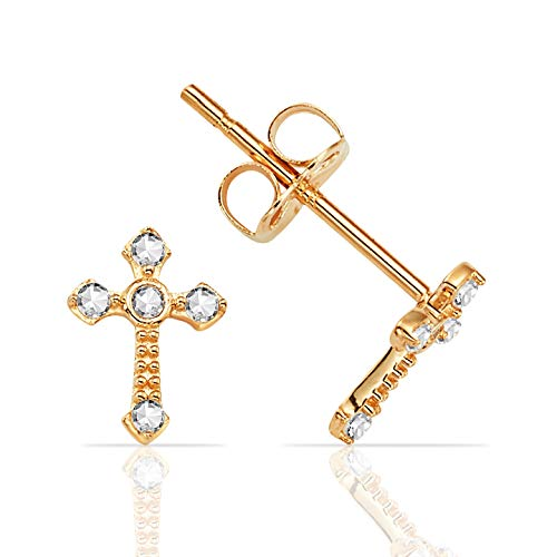 Petite Ornate Cross with CZ Stud Earrings in 14K Yellow Gold
