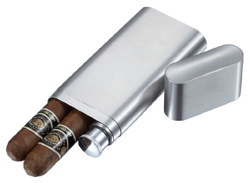Visol Products Toledo Stainless Steel 2-Finger Cigar Case with Flask