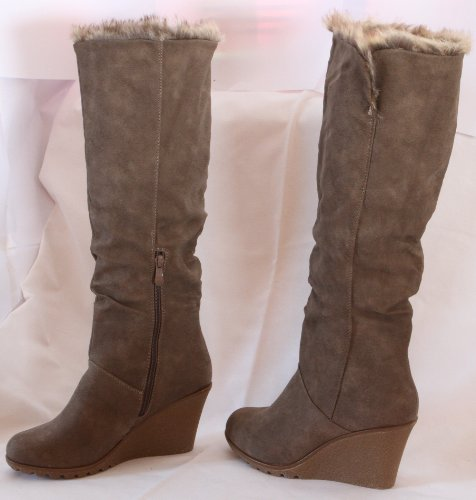 Mujer Botas Piel Botas de invierno guantes Boots Botas para mujer marrón caqui Beige, 37 EU