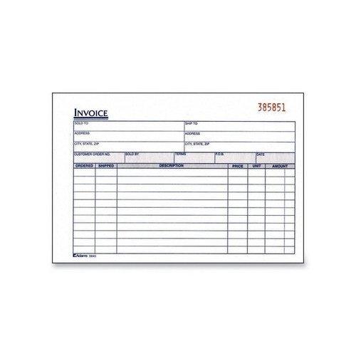 Invoice Book, 2-Part, Carbonless, 8-7/16''x5-9/16'', 50/Black [Set of 2]