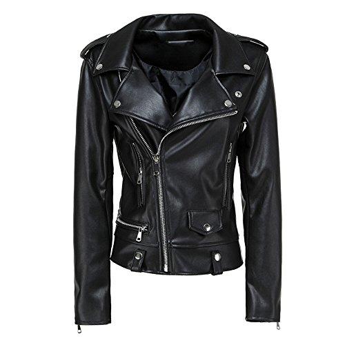 Faux Jacket Biker Coat Moto Spring LJYH Leather Women's Black Short wqAnfAE8S
