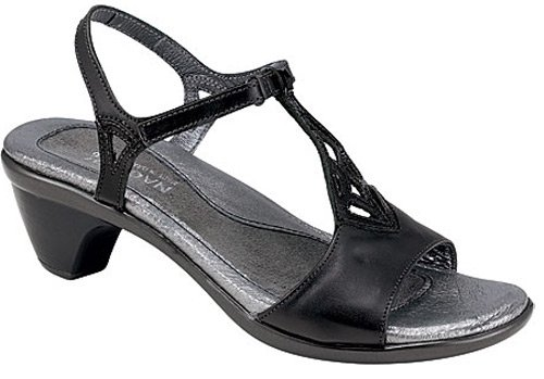 Naot Women's Revere Sandals,Black Raven Leather/Black Patent Leather,36 M EU