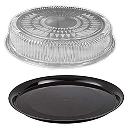 "Durable Packaging 16"" Black Round Flat Catering Serving Party Tray Food Platter + Clear Dome Lid (pack of 10)"