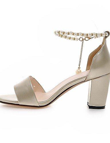 Tacones Zapatos y D'Orsay de Tacón Piezas Fiesta Robusto mujer LFNLYX Dos y Casual Noche Punta Abierta Vestido PU Oro Plata Sandalias Silver qFYXdgwx
