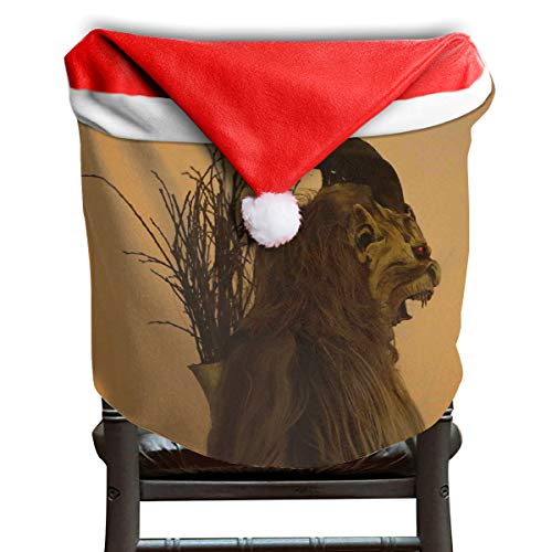 EDYE Folklore Christmas Changing Mask of Krampus Christmas Xmas Themed Dinning Seat Chair Cap Hat Covers Ornaments for Backers Slipcovers Wraps Coverings Decorations Protector Set ()