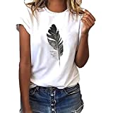TnaIolral Woment-Shirt Short-Sleeved Leaf Print Casual Plus Size O-Neck Top White