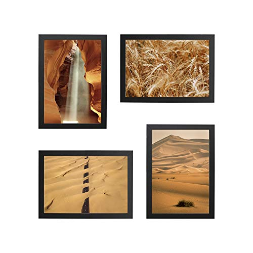 Conjunto Quadros Decorativos Areia Bege Moldura Preta 58x58cm - Prolab Gift