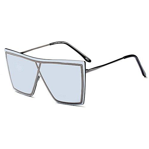 vacaciones de decoración de libre Gris conducir mujeres lente de metal gafas Silver conjoined de Irregular sin al Peggy UV Gu Color gafas aire protección playa verano para sol sol marco las BU4Y4q