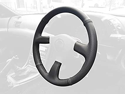 RedlineGoods steering wheel cover compatible with Nissan Skyline R32  1989-93  Black perforated leather-Silver thread