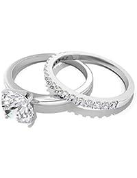 1.78 CT Solitaire SGL Certified Moissanite Engagement Ring, Pave Set White Gemstone Eternity Bridal Ring Set, Bridal Wedding Anniversary Stacking Ring, 14K Gold
