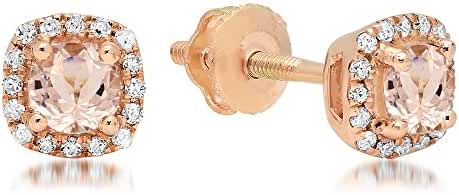 10K Rose Gold Ladies Halo Style Stud Earrings