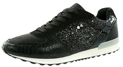 Beppi Damen Schuhe Modeschuhe Glitzer Schwarz