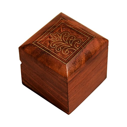 Hashcart Indian Artisan, Handmade & Handcrafted Wooden Jewelry Box/Jewelry Storage Organizer/Trinket Jewelry Box with Traditional Design and Brass Inlay (Handcrafted Rosewood Box)