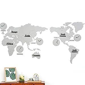 Wall clock Reloj Mapa Reloj de Pared Sala de Estar Reloj de Pared Estilo nórdico Movimiento de escaneo silencioso Material de Madera (137 * 63 * 0.5 cm) (220 * 115 * 0.5 cm) 5