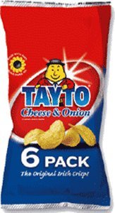 Tayto Cheese & Onion Chips 25g x 6 Pack
