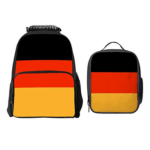 SARA NELL German Flag Black Red Yellow School Backpack Lunch Bag Set with Padded Straps Student Stylish Unisex Daypack for Boys Girls School Book Bags -