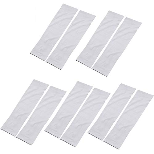 Sdoo UV Protection Cooling Warmer Arm Sleeves Men Women Kids Sunblock Protective Gloves Running Golf Cycling Driving 5 Pairs Long Tattoo Cover Arm Warmer (White)
