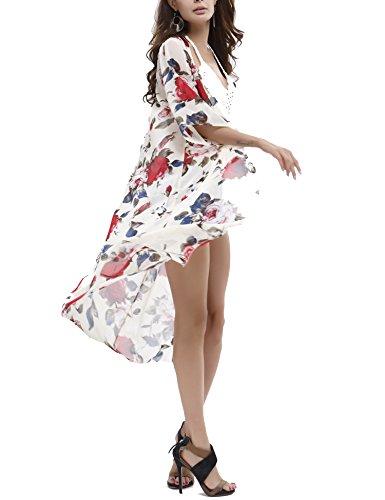 Bagno 03 Spiaggia Costumi Beachwear Coprire Roaays Bikini bianco Stile M Donne D'estate Del Da Chiffon Floreale 0wSw6zx