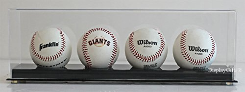 Baseball Display Case Holder Stand, Ultra Clear Pro UV (4-Ball Stand) (Baseball Display Case Four)