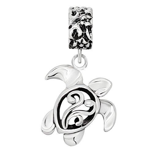 (925 Sterling Silver Filigree Sea Turtle Dangle Bead Charm Fit Major Brand Bracelet)
