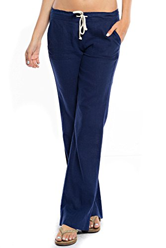 ture Women's Drawstring Linen Pants (L, Navy) (Blue Embroidered Hoodie Pant)