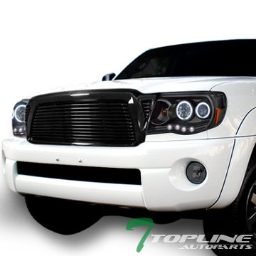 Topline Autopart Black Horizontal Billet Style Front Hood Bumper Grill Grille Cover 05-11 Tacoma -