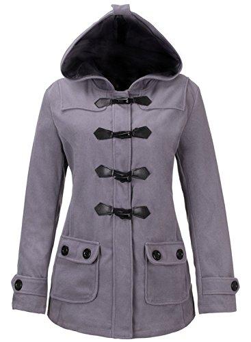 Azbro Mujer Invierno Abrigo con Capucha Bolsillos Negro